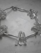 Bardzo ładna srebrna bransoletka z kryształem górskim