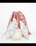 HANDMADE śliczny różowy plecak welur królik ogon