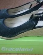 Idealne prawie nowe sandałki koturny