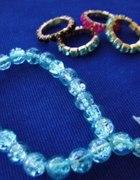 NOWY zestaw bransoletka i 4 obrączki kryształki