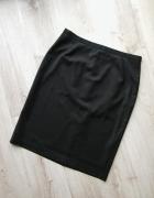 elegancka czarno grafitowa spódnica midi ołówek w delikatne pas...