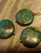 srebrny komplet z zielonymi kamieniami