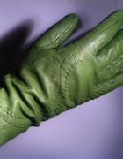 Skórzane zielone ocieplane rękawiczki M