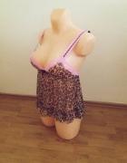 Sexy koszulka panterka H&M XS 34 XXS 32 róż...