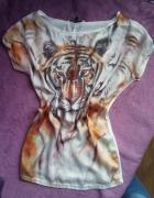 T shirt bluzka mgiełka tygrys bershka S