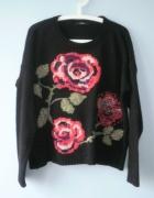 George sweter oversize czarny floral róże kwiaty