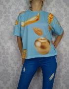 Śliczny luźny oversizowy t shirt Asos fajny print