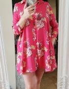 czerwona sukienka tunika w kwiaty reserved...