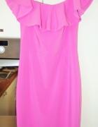 różowa sukienka odkryte ramiona falbana hiszpanka...