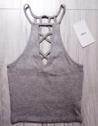 Nowy szary siwy top bluzka paski wycięcia Sinsay xs s...