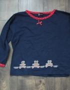 Bawełniana granatowa bluzeczka z misiami 140