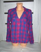 koszula w kratę L XL niebiesko różowa