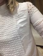 Biała koronkowa koszula bluzka S klasyczna elegancka nowa retro vintage