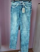 niebieskie nowe marmurki spodnie dżinsowe...