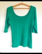 Zielona bluzka sweterek dekolt łódka rękaw 3 4 S M