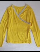 żółta bluzka kopertowa cekiny M i L elastyczna