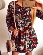 Sukienka Damska zielona kwiaty M