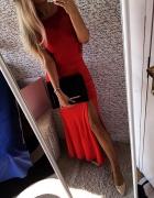 CZERWONA cudna sukienka dluga z koronka HIT