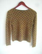 czarno złoty koronkowy sweterek S