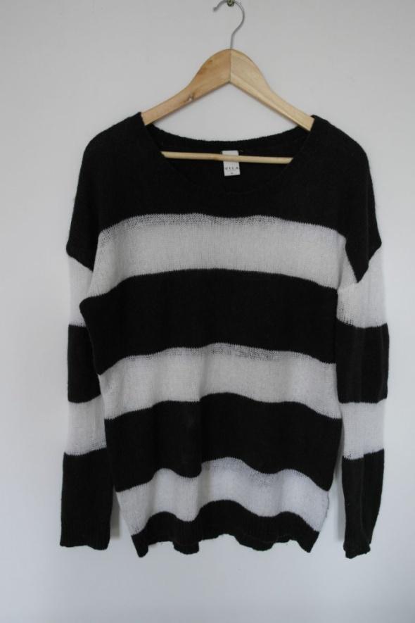Vila sweter w paski oversize czarno biały XL...