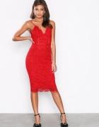 Nelly nowa czerwona koronkowa sukienka gipiura koronka wesele b...