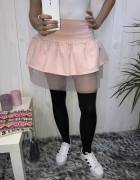 pudrowa różowa mini marszczona tiul seksowna xs s