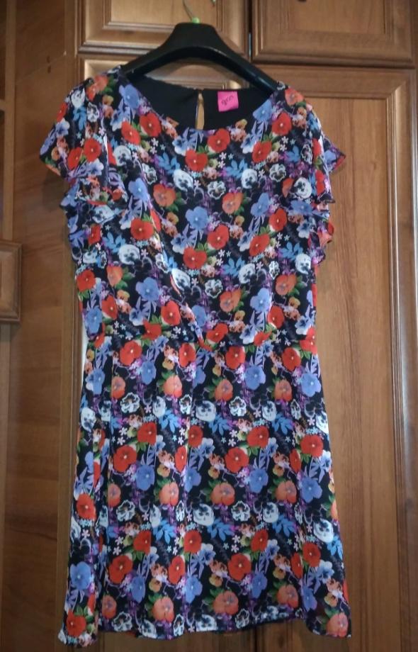 Angielska szyfonowa sukienka w kwiaty George 40...
