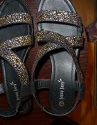 sandały koturn biżuteryjne 40 cyrkonie...