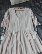 Pudrowa sukienka boho rozm M