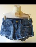 Spodenki Jeansowe Dzins H&M XS 34 Łatki Jeans