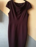 sukienka burgundowa elegancka f&f 40