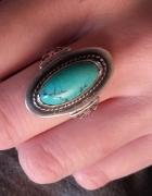 Stary srebrny pierścionek z turkusem naturalnym rosyjski