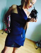 Granatowa elegancka sukienka ASOS moda 40 L