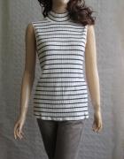 H&M kremowa bluzka paski marine prążkowana 42