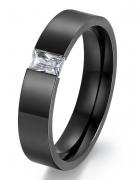Nowy pierścionek obrączka czarny cyrkonia prosty elegancki czerń