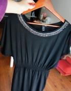 sukienka czarna hm luźna z kryształkami