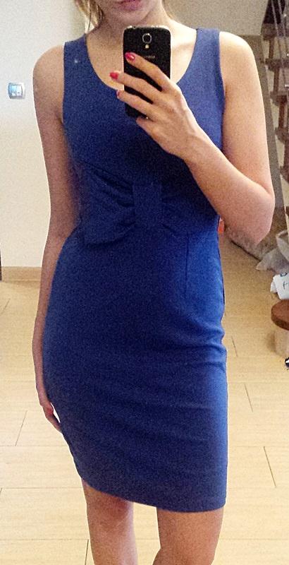 Sukienka kobaltowa z kokardą roz S 36