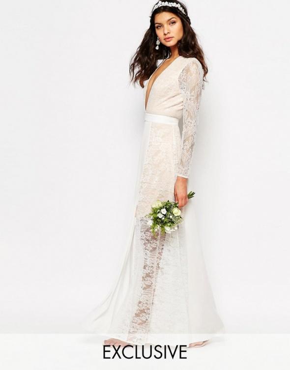 7dbb45b5540 Asos maxi biała bridal koronkowa zwiewna suknia w Suknie i sukienki ...