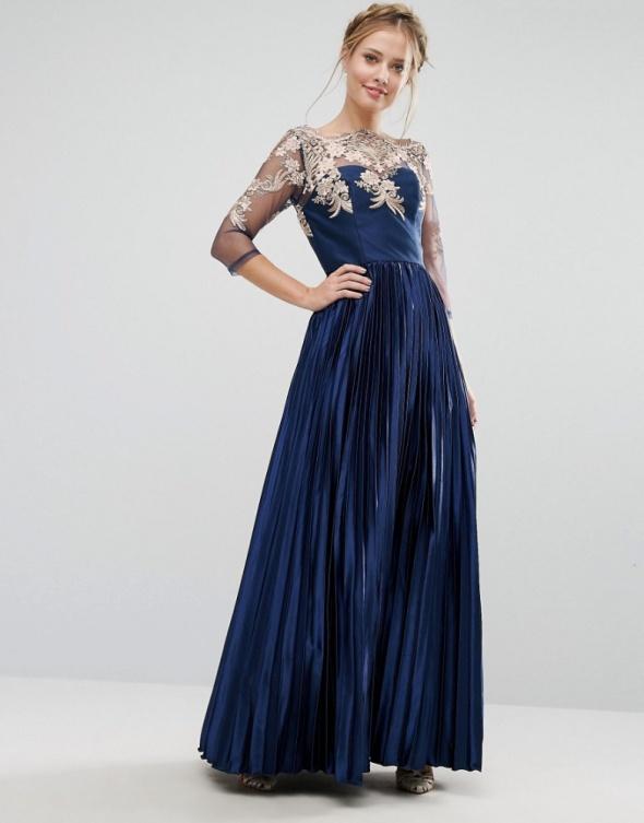 530f5f7242a9b6 Suknie i sukienki Chi Chi London asos granatowa suknia plisowana koronka