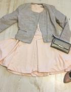 Morelowa rozkloszowana sukienka 38 40 M L pastelowa wiosna rozkloszowana pudrowa