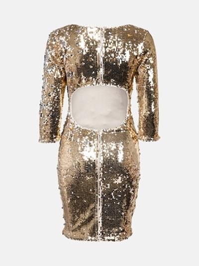 Sukienka w złote cekiny z wycięciem na plecach...