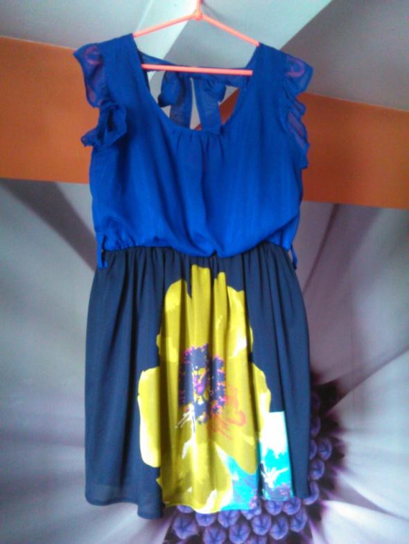Yumi zwiewna sukienka kwiat 36 38 kokardka falbank...