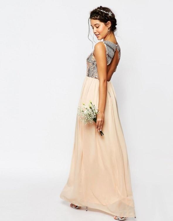 Asos suknia maxi dress pudrowa nude koronka 38 w Suknie i