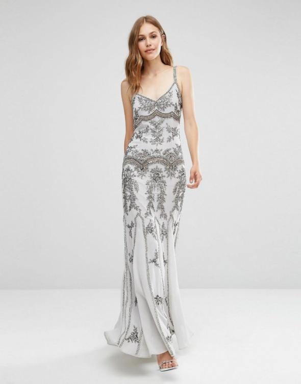 337ed276 Asos maxi szara zdobiona sukienka glamour w Suknie i sukienki - Szafa.pl