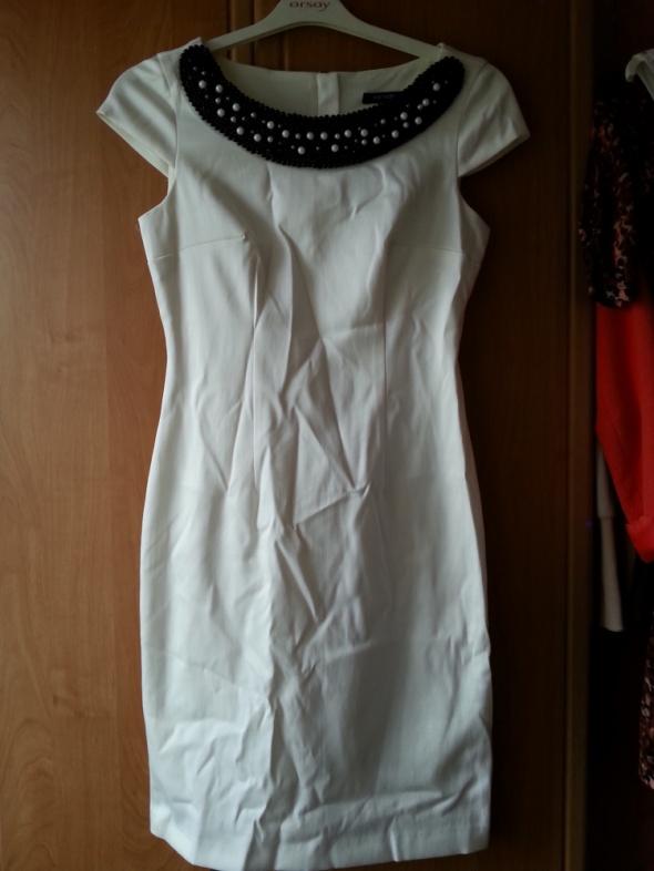 koktajlowa modna sukienka ecru...