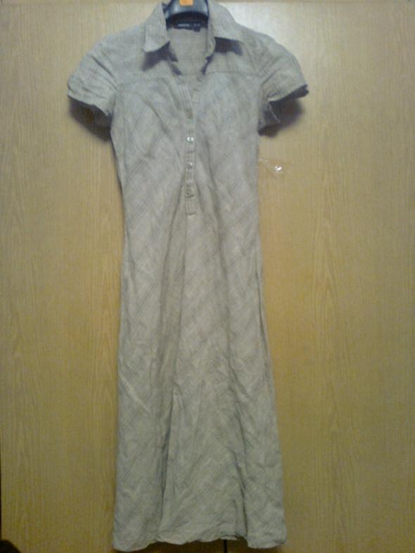 beżowa sukienka z lnu...