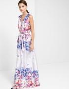 Mango maxi sukienka pastelowa kwiaty liliowa...
