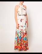 Mango maxi sukienka kwiaty kremowa...