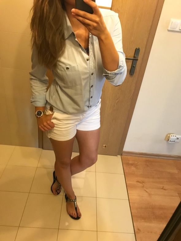 Spodenki Gina jeans białe szorty marynarskie M