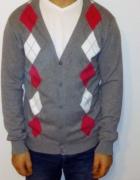 Męski rozpinany sweter w romby M...